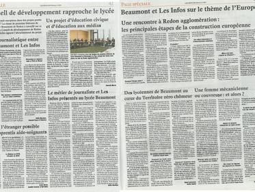 Le Conseil de développement rapproche le lycée Beaumont et les Infos sur le thème de l'Europe