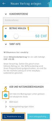 Prepaid-Betrag wählen und AGB's aktzeptieren in der App easy4you