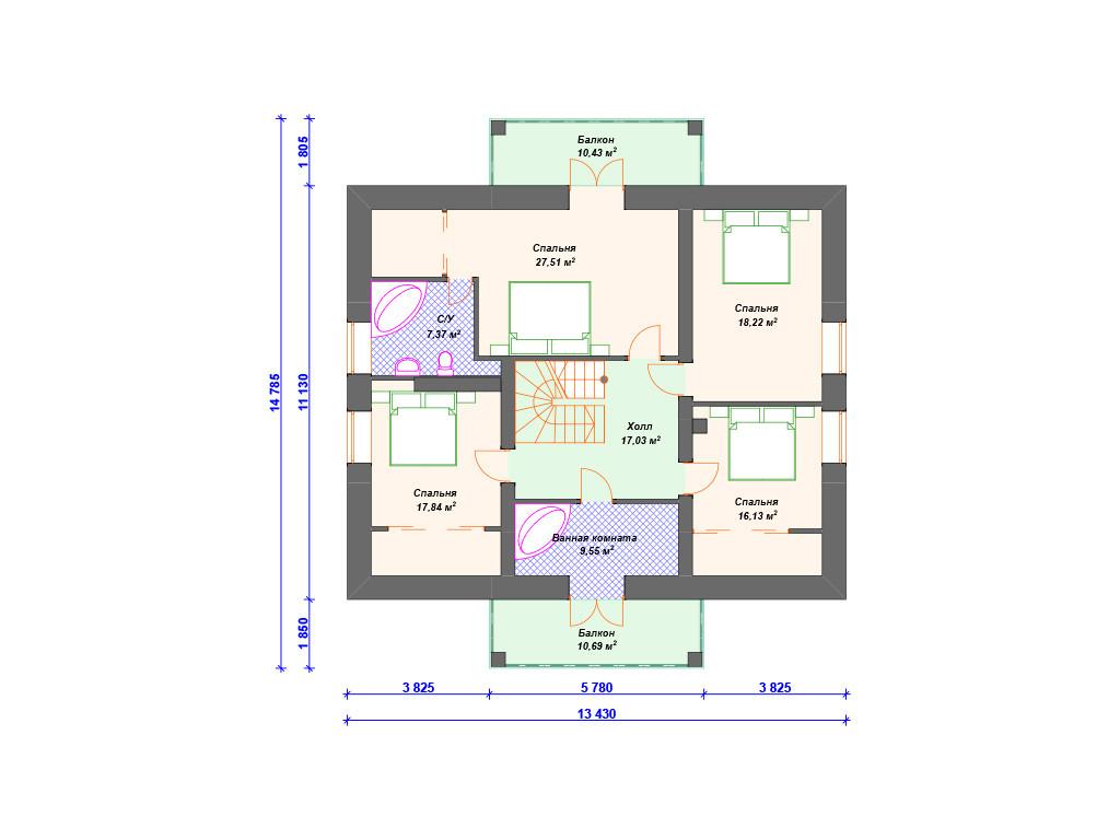 План дома из кирпича 2 этаж