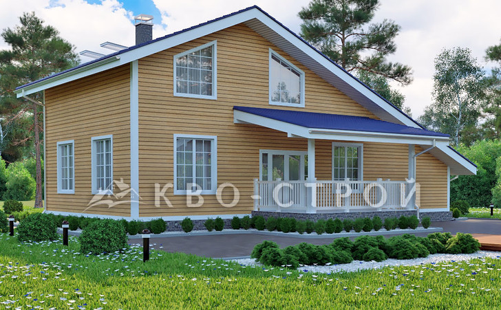 Каркасный дом фасад 3