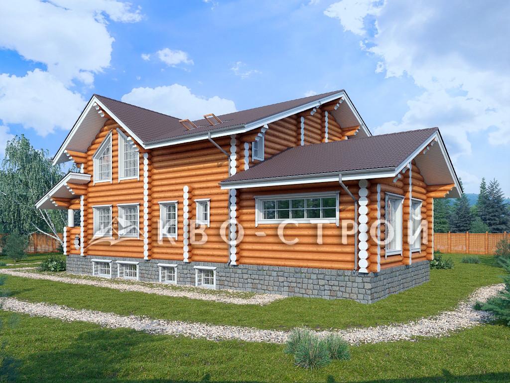 дом из бревна - фасад 2