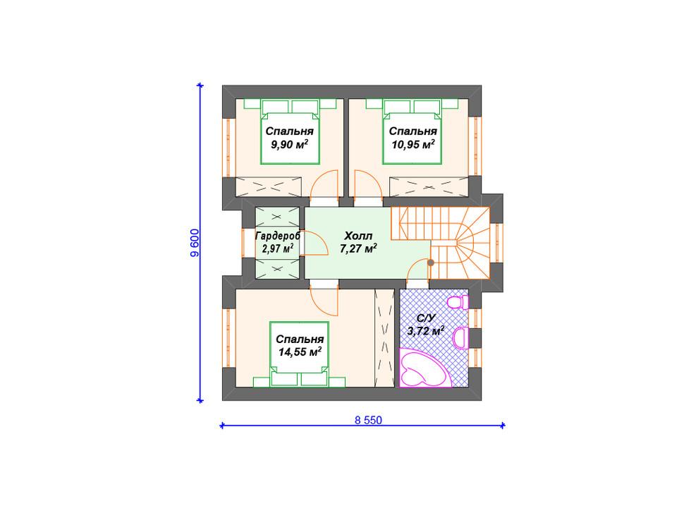 План дома из блоков 2 этаж