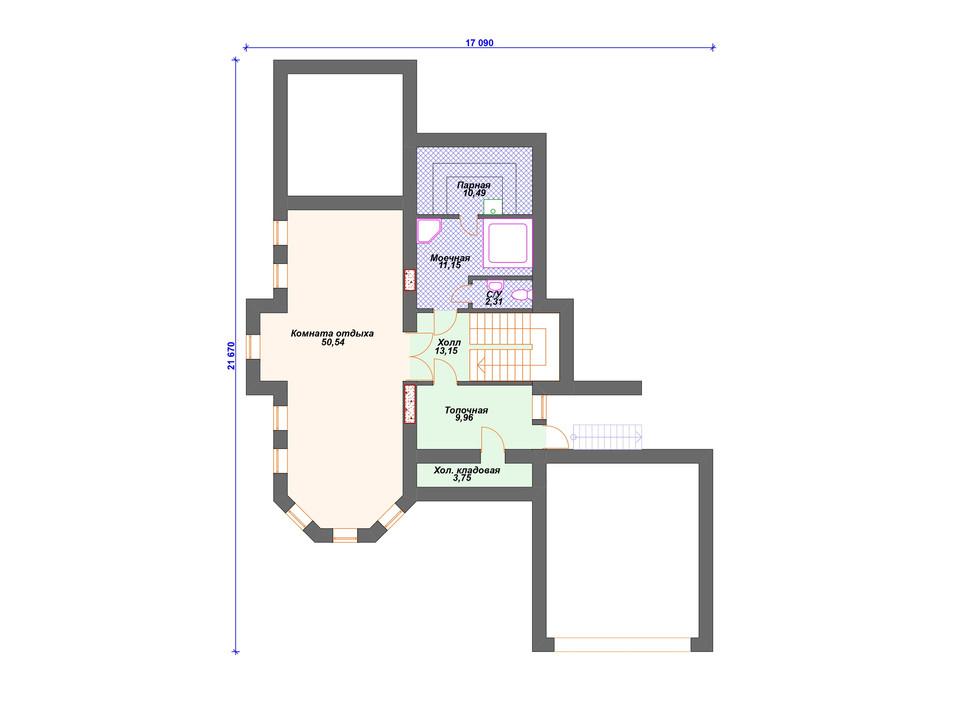 План дома из блоков -1 этаж