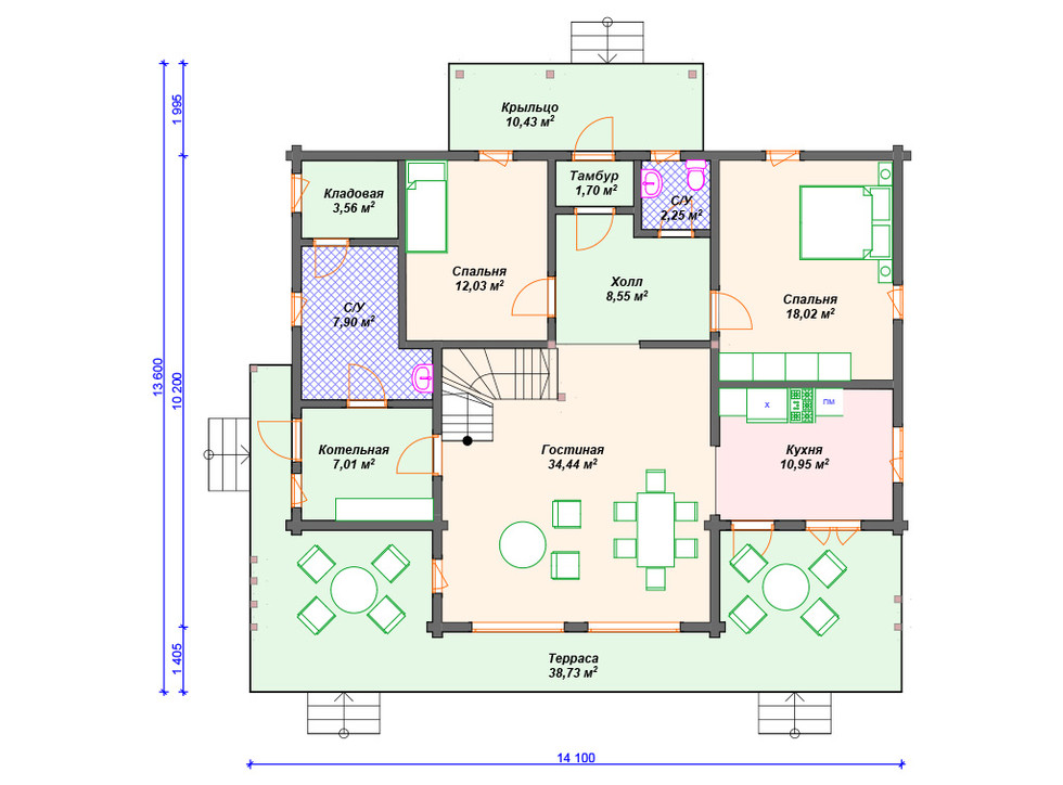 План дома из бруса 1 этаж