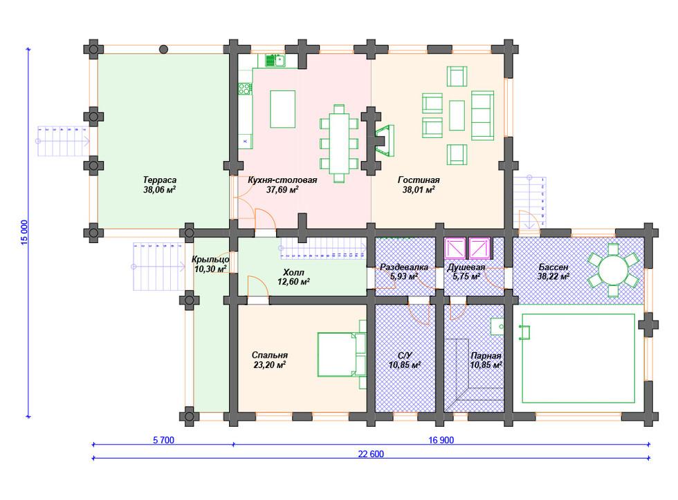 Дом из бревна первый этаж