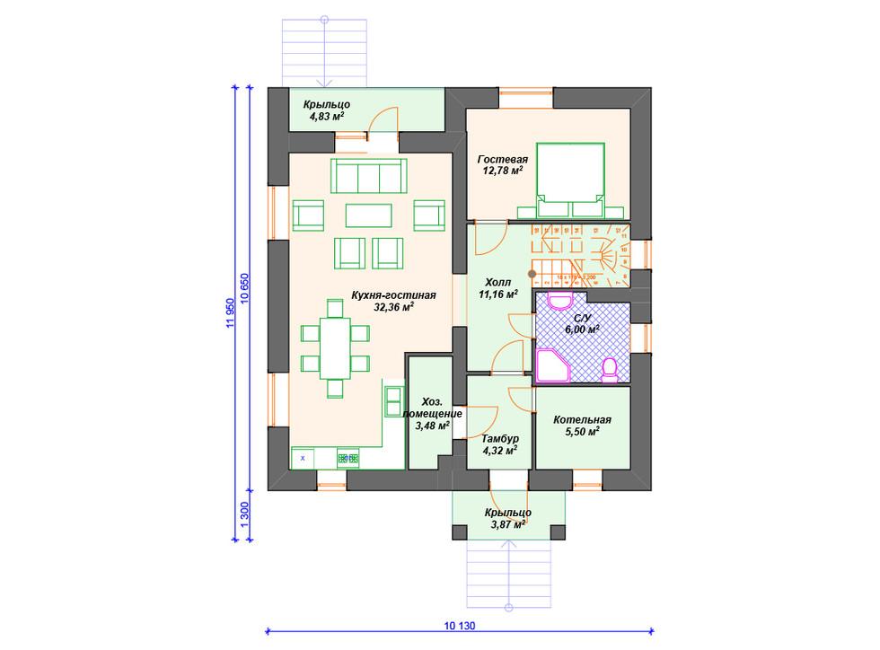 План дома из блоков 1 этаж