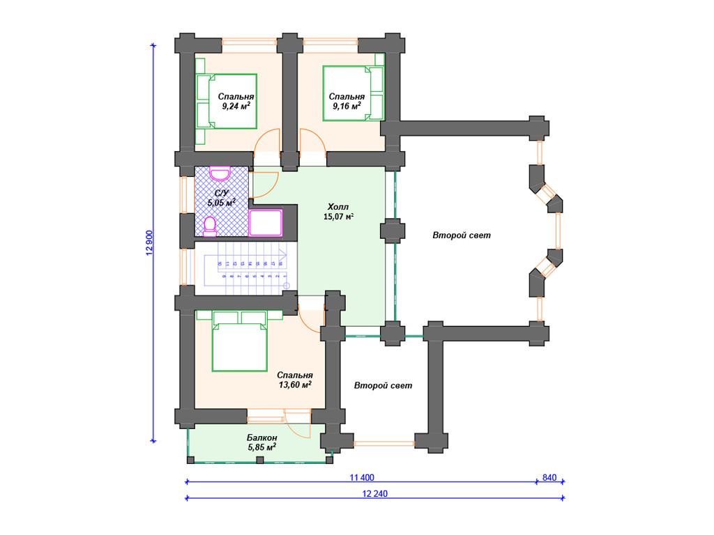 План этажей - дом из сруба