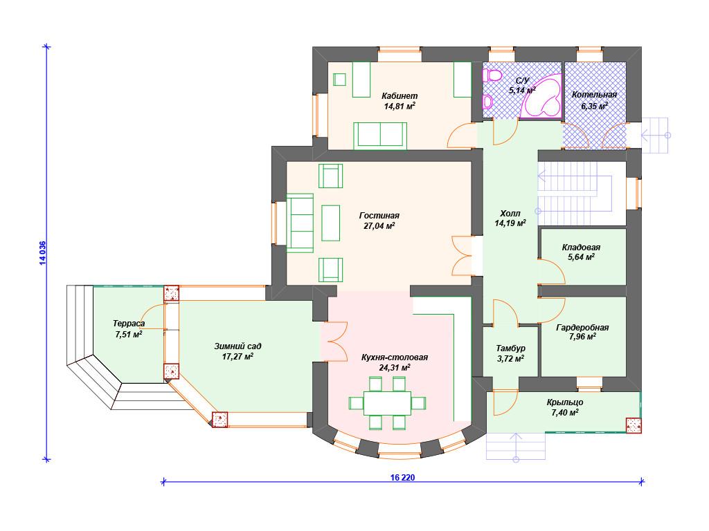 План дома из кирпича 1 этаж