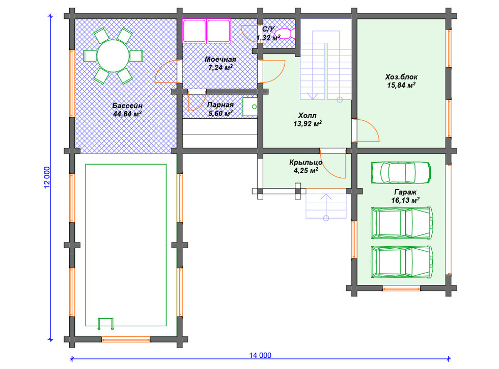 Проект бани 1 этаж