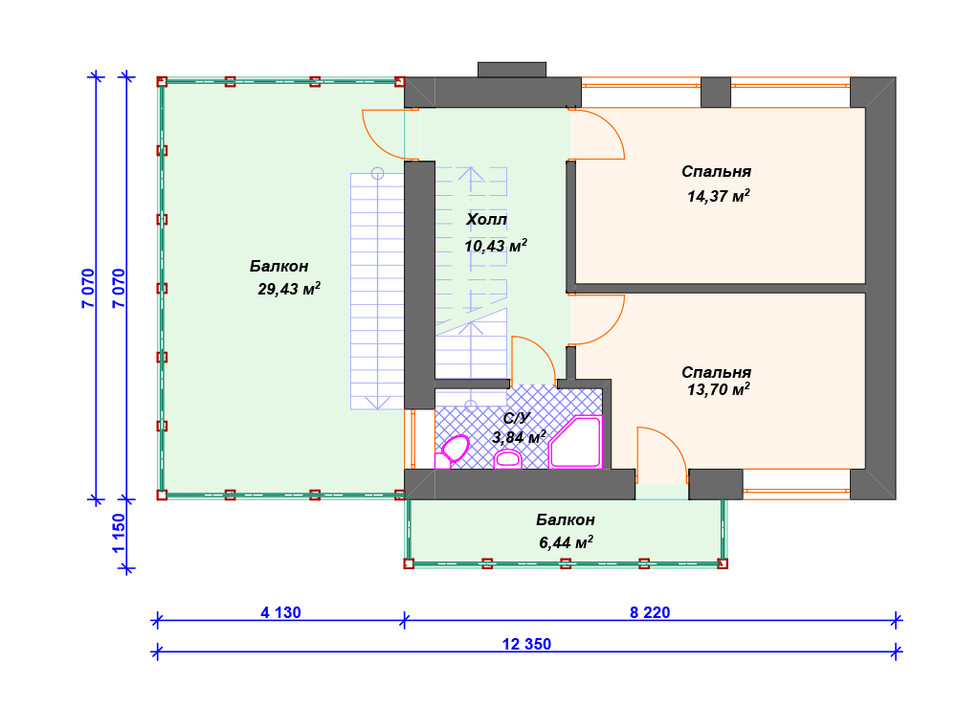 План кирпичного дома 2 этаж