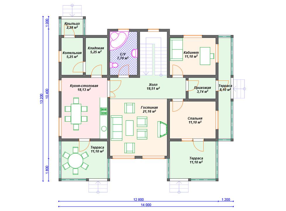 Проект каркасного дома 1 этаж