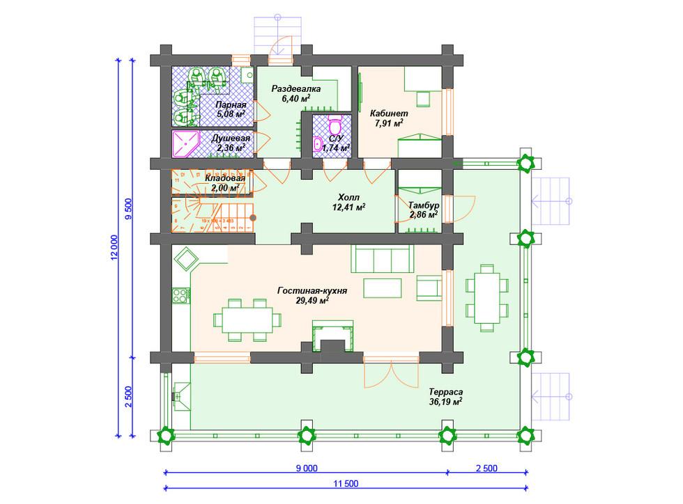 План дома из сруба - первый этаж