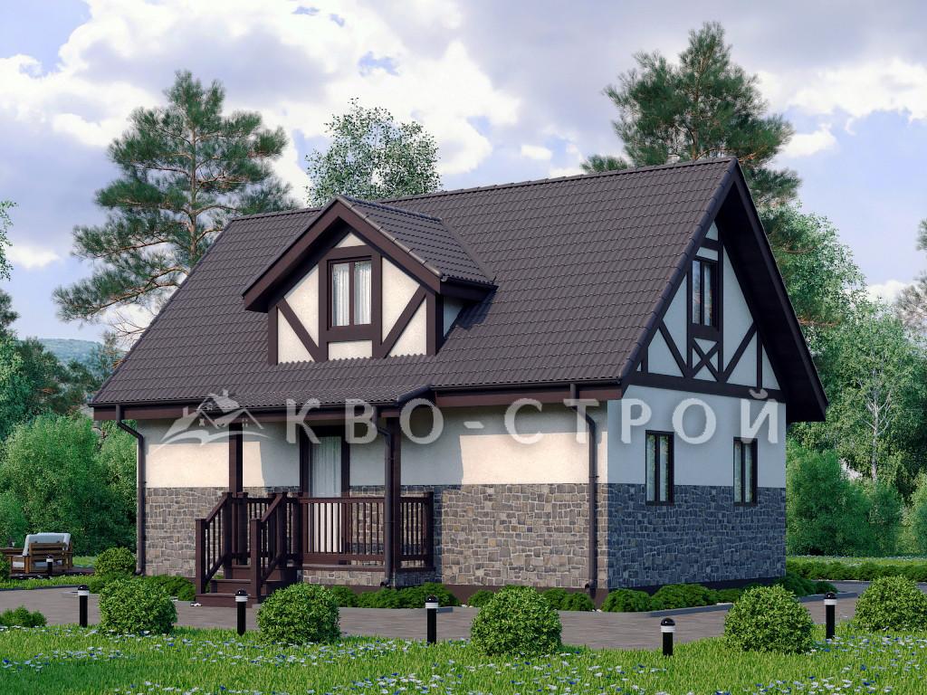 Каркасный дом фасад 1