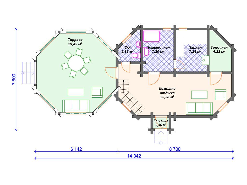 План бани из бруса 1 этаж