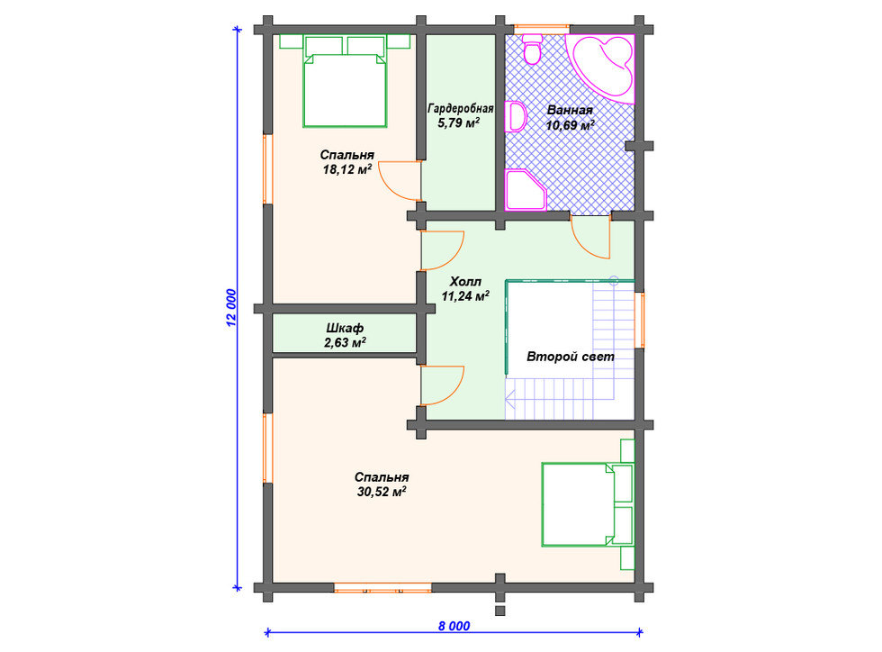 План дома из бруса 2 этаж