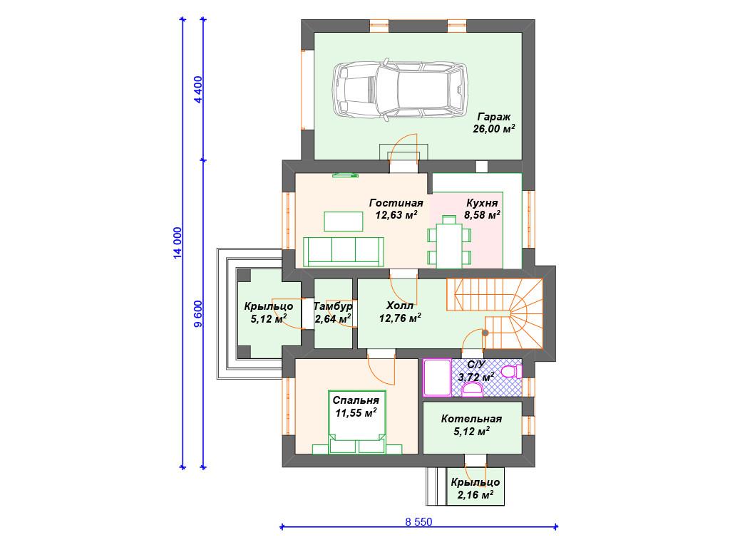 План дома из блоков