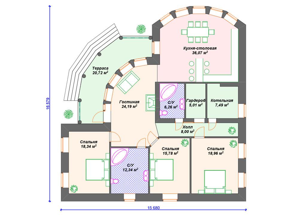 План кирпичного дома