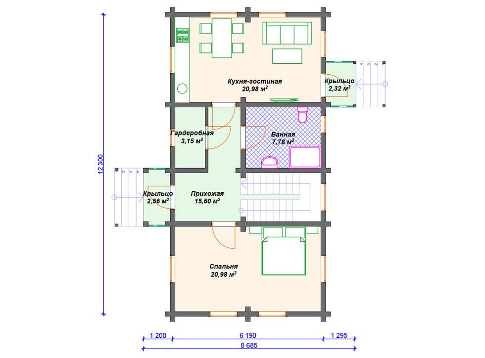 План дома из бревна - 1 этаж