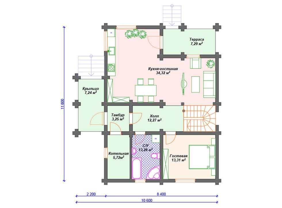 План дома из сруба - 1 этаж