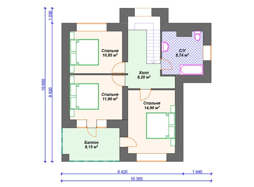 Кирпичный дом план 2 этажа