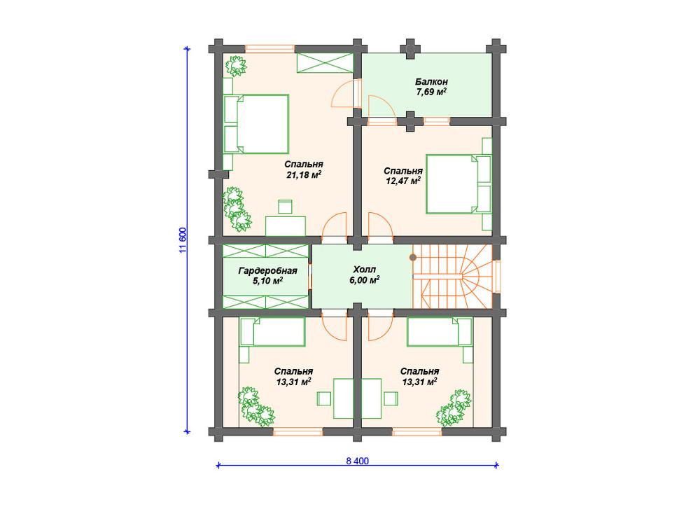 План дома из сруба 2 этаж
