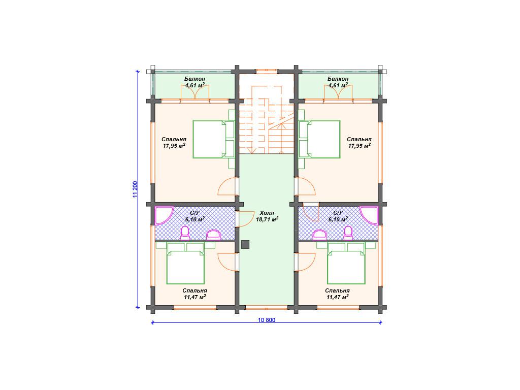 План дома из бруса 3 этаж