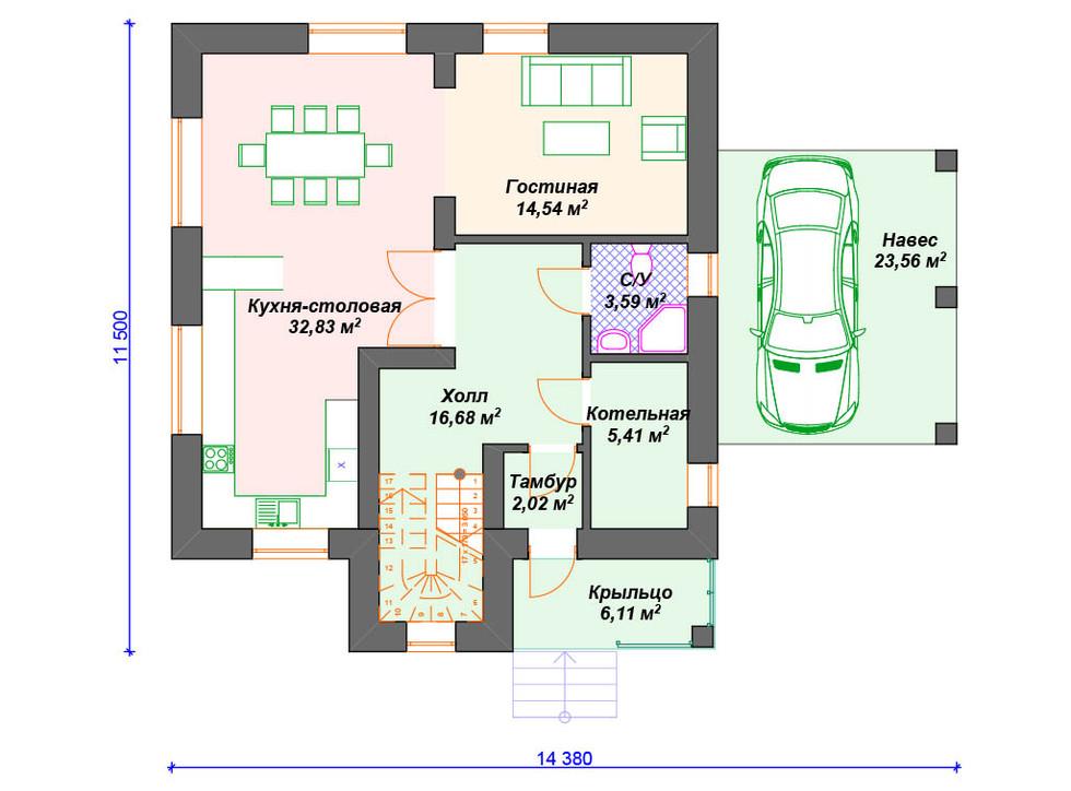 План кирпичного дома 1