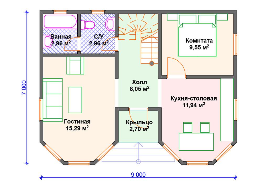 План каркасного дома 1 этаж