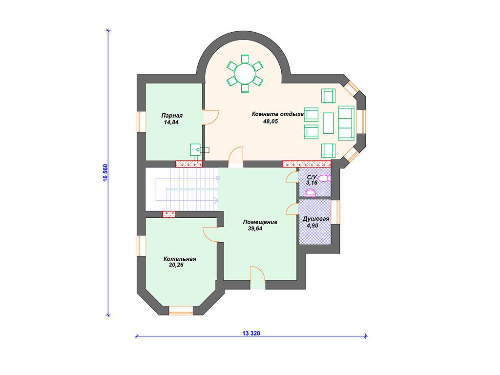 План кирпичного дома цокольный этаж