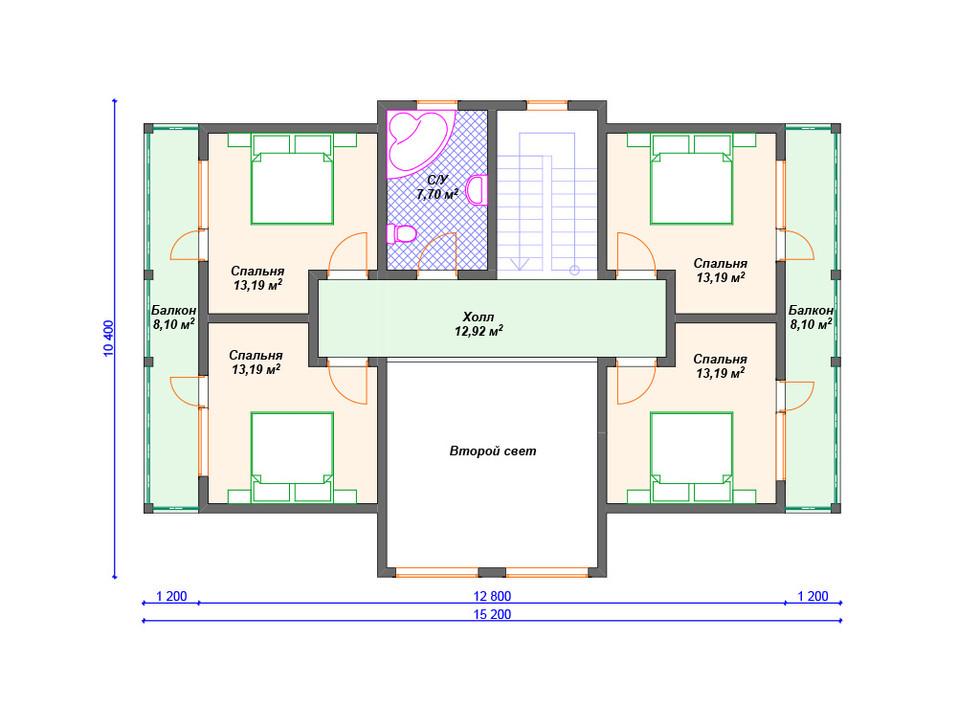 Проект каркасного дома 2 этаж