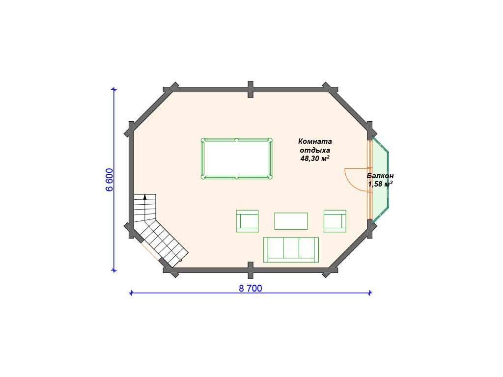 План бани из бруса 2 этаж