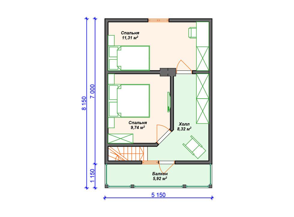 План каркасного дома 2 этаж