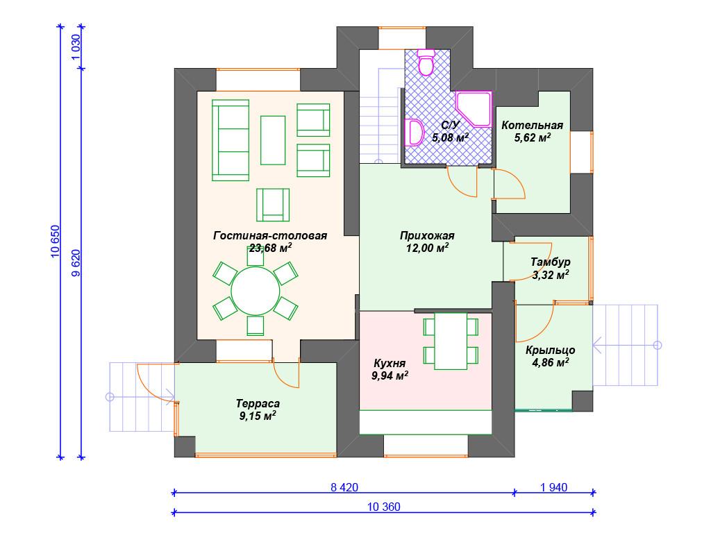 Кирпичный дом план 1 этажа