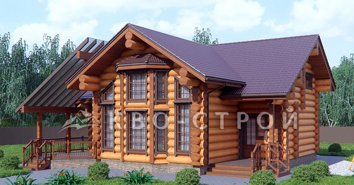 дом из бревна - фасад 1