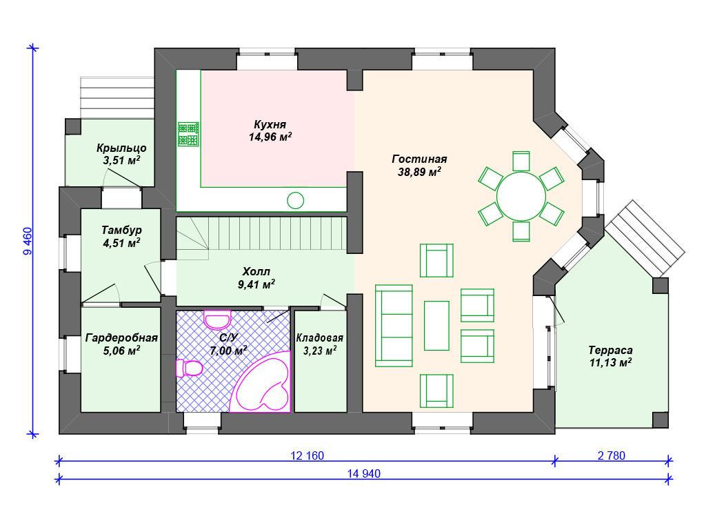 План кирпичного дома 1 этаж