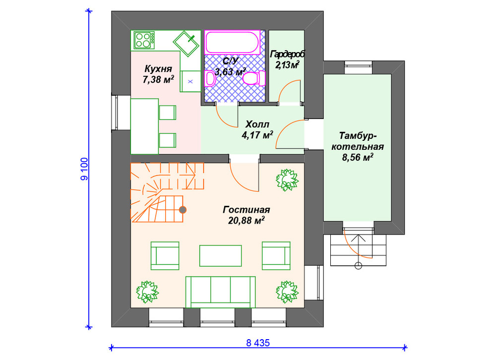 Проект дома из блоков 1 этаж