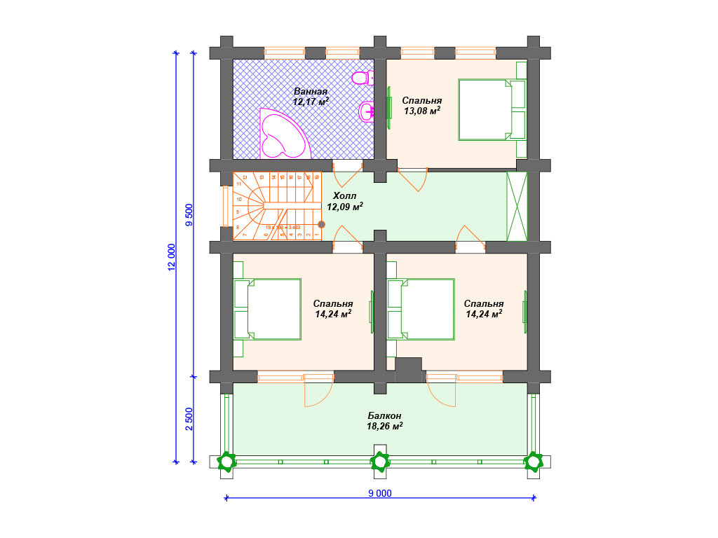 План дома из сруба - второй этаж