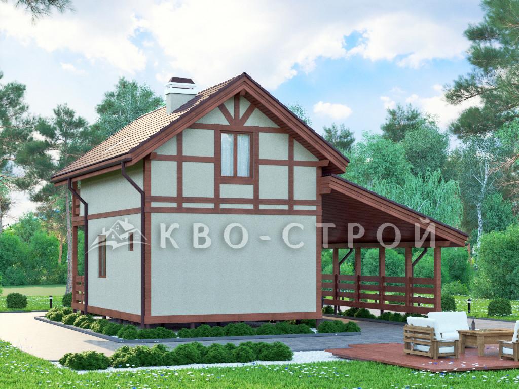 Дом из каркаса фасад 1 фасад 2