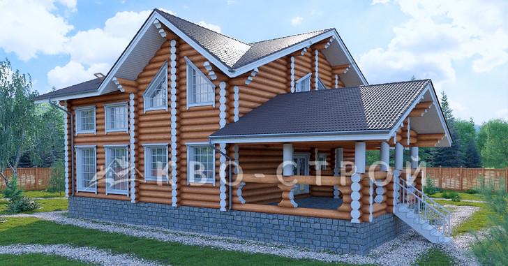 дом из бревна -фасад 4