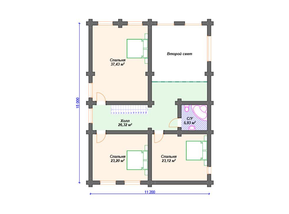 Дом из бревна второй этаж