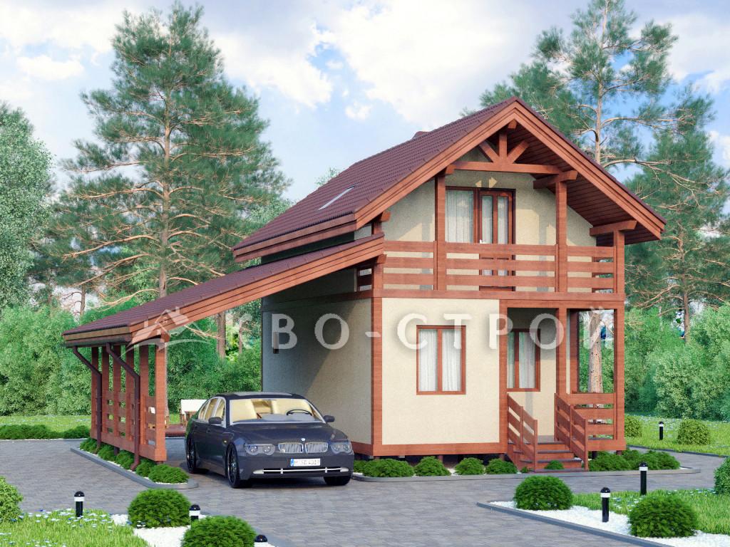 Дом из каркаса фасад 1 фасад 4