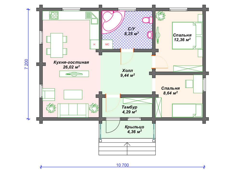 План дома из бруса