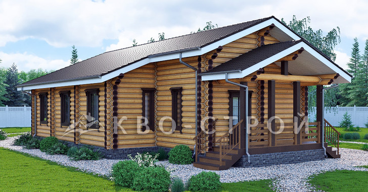 дом из бревна - фасад 3