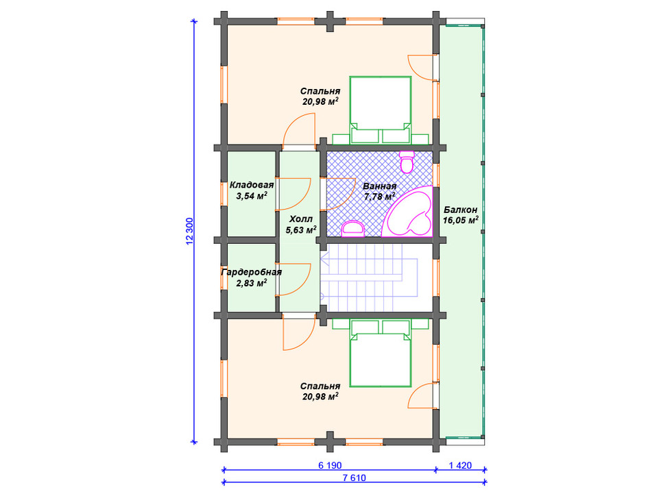 План дома из бревна - 2й этаж