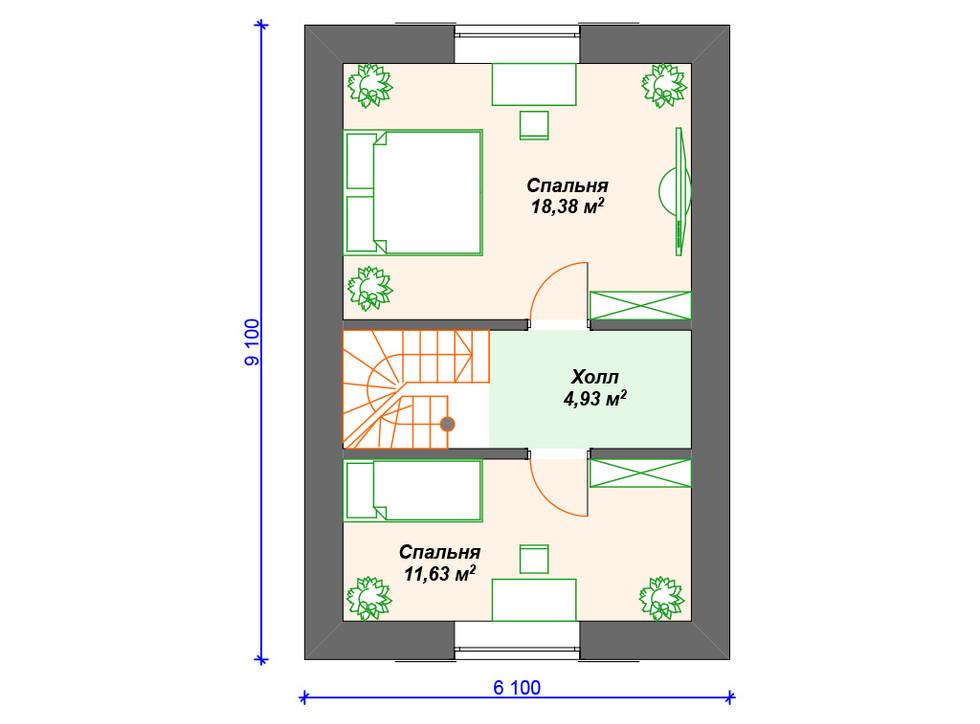 Проект дома из блоков 2 этаж