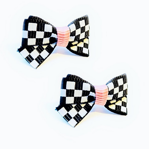 Mini Checkered Bow Earrings (pierced ears)