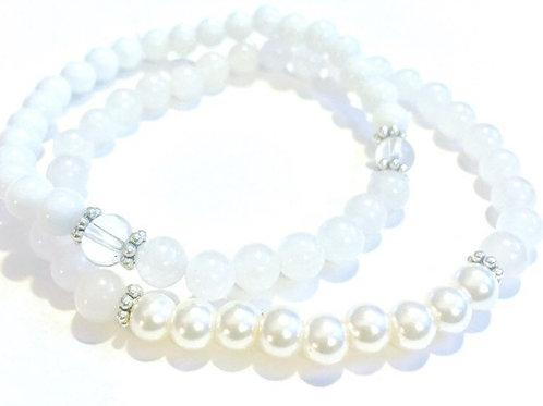 Moonstone Stretch Bracelets - set of two