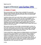 Mardi 30 avril 1991 (558) Logist et Ferenczi, prix Carême 1991 Le fabuliste et l'exégète 