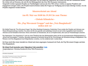 POP Movement stellt sich in der Ideenwerkstatt des Netzwerkes fairrhein vor (05. Mai)