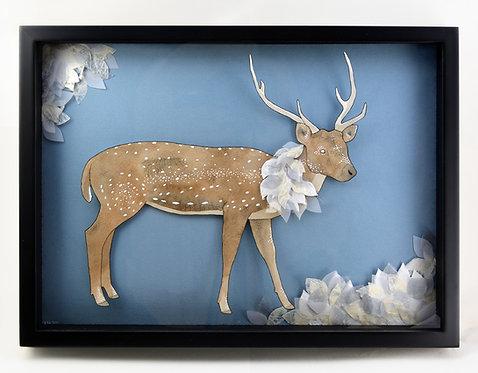 Spotted Deer original shadow box